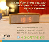 Bamboo LED clock+bass enhanced speaker, NFC+CRS, Bluetooth, Touch Panel, FM, Alarm Clock
