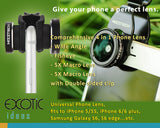 Universal Phone Lens 4 in 1-Wide Angle+4X Macro Lens; Fisheye+5X Macro Lens.Double-sided clip