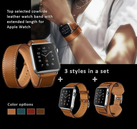 Genuine Leather Watch Bands/Straps for Apple Watch 6, 5, 4, 3, 2, 1 Single Loop, Double Loop Strap and Bracelet. 3 bands in One Set,