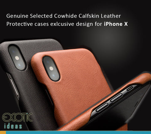 Genuine Selected Cowhide Calfskin Leather Protective Cases Exclusive Design for iPhone X, Free Gift -Tempered Glass Film