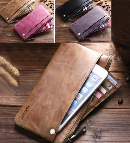 "Genuine Leather Wallet Style cases for iPhone 6/7/8 Plus, iPhone X, XS, XS Max, XR, Fits to screen 4.7""-6.8"" phones."