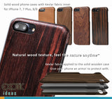 iPhone 8/8 Plus, 7/7 Plus solid wood phone cases /shells with Kevlar fabric applied in. Give your phone an armor protection.