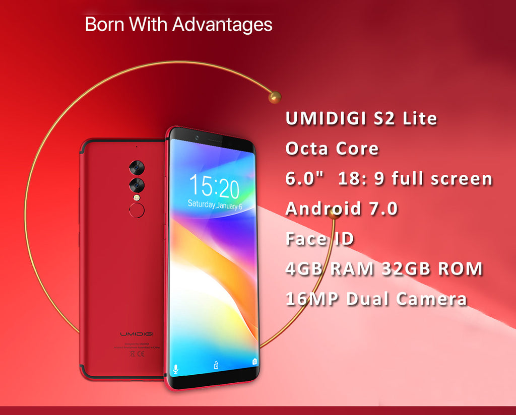 "Umidigi S2 Lite Smartphone Octa Core 4GB RAM 32GB ROM 6"" HD screen Android 7. Face ID, Dual rare cameras,  Multiple Languages"