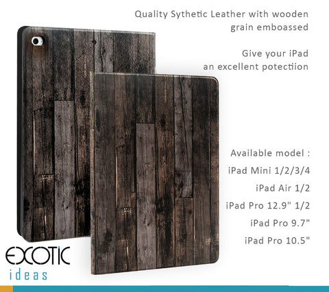 "Wooden Textured Smart Cover for iPad Pro 12.9"", 10.5"", 9.7"", iPad Air, iPad Mini 2/3/4 - Magnetic closure / Auto Hibernation feature / Matte Velvet Liner"