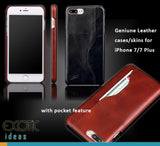 Genuine Leather Cases/Skins for iPhone 7/8, iPhone 7/8 Plus with Pocket Feature
