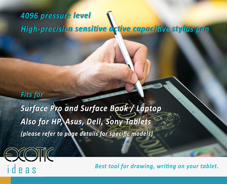 4096 pressure level stylus pen for painting, drawing, writing.  Compatible for  Microsoft Surface Pro, HP, Sony, Asus, Dell tablets.