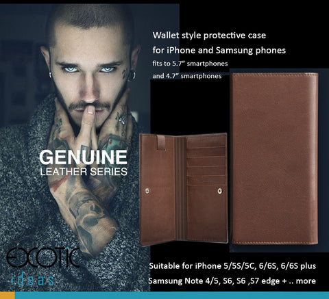 "Genuine Leather Wallet Style Cases for iPhone and Samsung phones, Vivo X5,6,fits to 4.7""-5.7"" Phones"