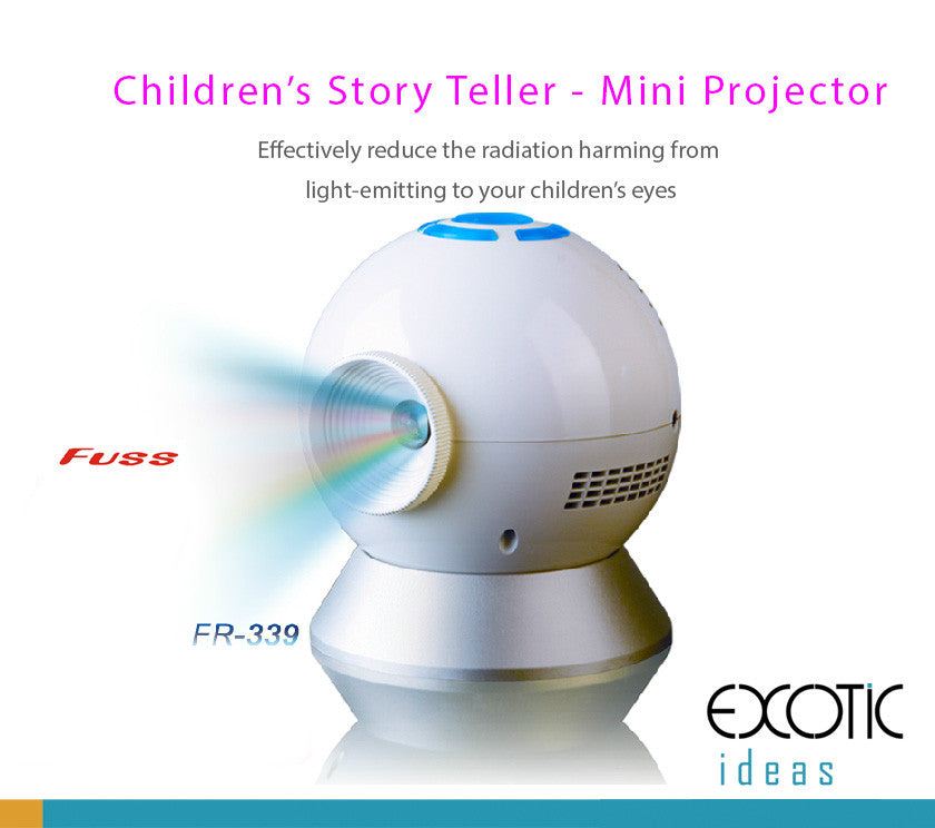 Children's Story Teller Mini Projector with Speaker, Micro HCSD Card Reader, Front,Ceiling Flexible Angle Projection