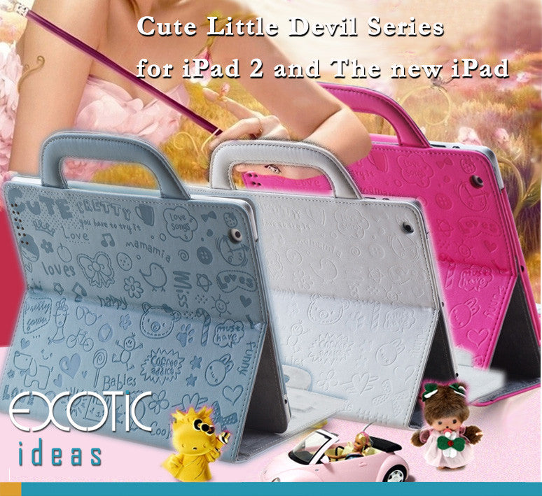 Fine PU Leather Sleeve Bag Cover for iPad 2, The New iPad, Auto Sleep/Awake, Handle Bag Design - Little Cute Devil