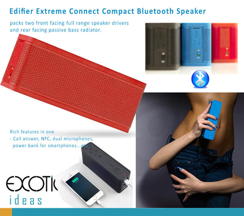 Edifier Extreme Connect - Bluetooth Speake with two front facing full range speaker drivers and rear facing passive bass radiator,  NFC, Call Answer, Power Bank, Dual Microphones