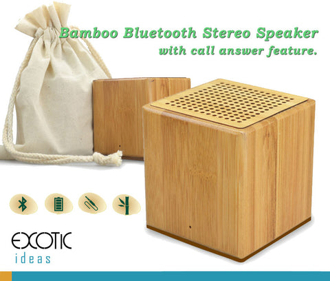 Natural collection-Bamboo Bluetooth Media Player Stereo Speaker, AUX Input. Calls Aswer. Bass Enhanced
