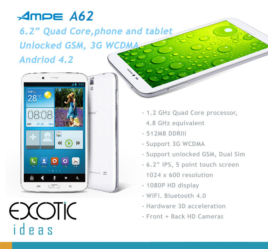 AMPE 6.2 Inch Quad Core Tablet Phone - Android 4.2,  IPS 5 point touch screen, Dual Sim Card Slots, Unlocked GSM / WCDMA 3G WiFi, Bluetooth,GPS, 3D acceleration.
