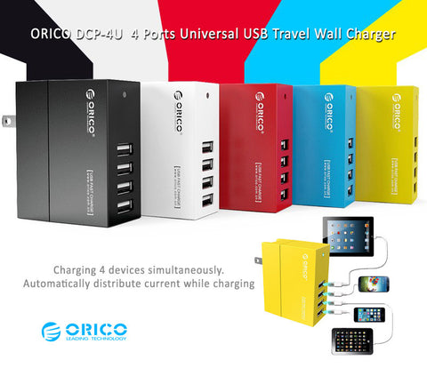 Orico DCP-4U  4 Ports Universal USB Travel Wall Charger - Charging 4 devices simultaneously.