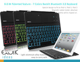 Illuminating 7 Colors Backlit Bluetooth keyboard for iPad 2, iPad 3, iPad 4, with flip out stand.