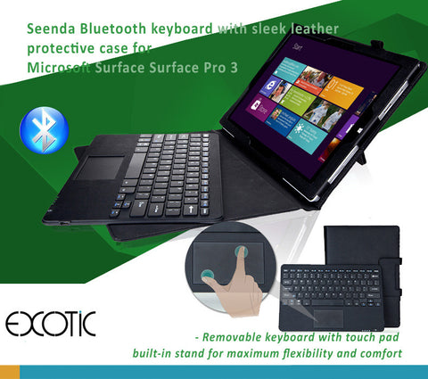 Microsoft Surface Pro 3 Leather Cover Case with Detachable Bluetooth Keyboard with touchpad