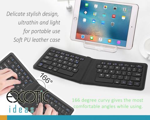 Stylish PU leather case, Ultrathin light portable foldable pocket Bluetooth keyboard, Ergonomic design