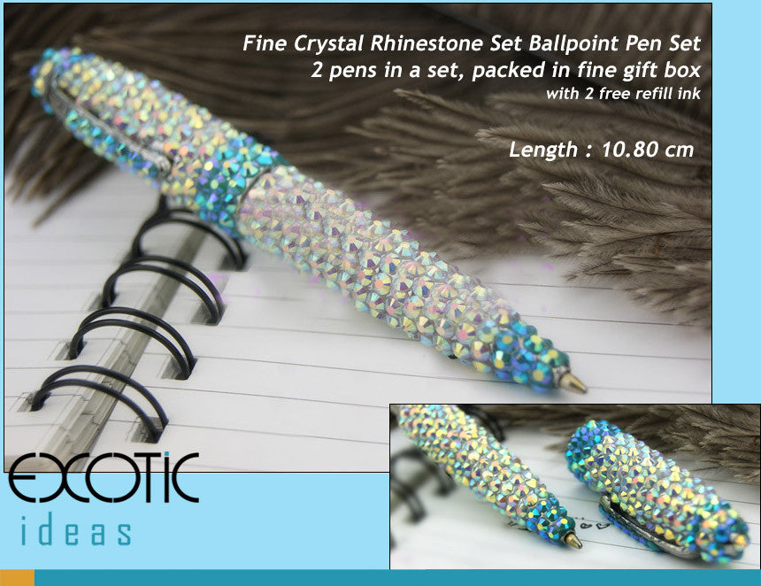 Kaleidoscope Series - Blue Fairy - Alloy Metal Ballpoint Pen with Fine Crystal Rhinestone Set - Blue AB Cyrstal - length - 10.8 cm  - 2 in a Giftset