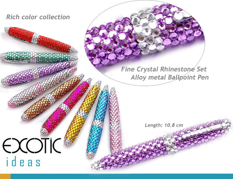 Alloy metal Ballpoint Pen with Fine Crystal Rhinestone Set - Rich color selections- length - 10.8 cm