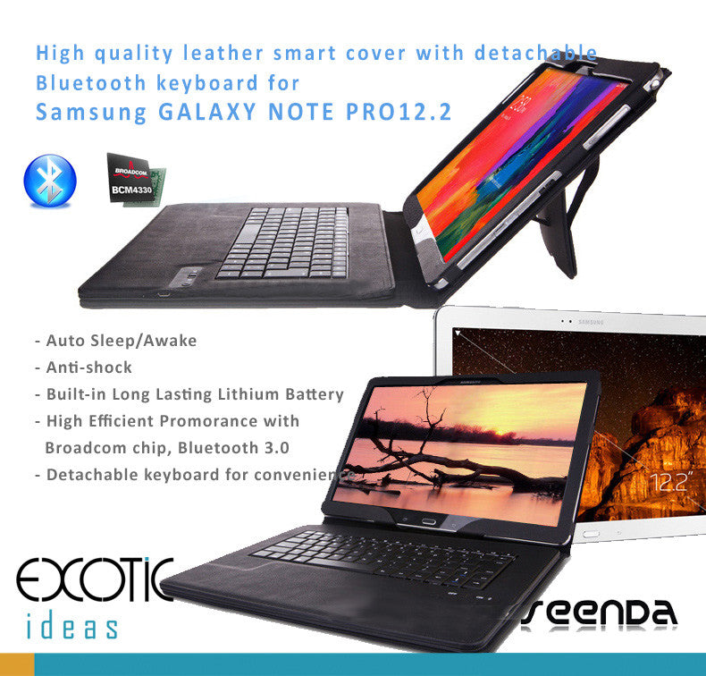 Samsung GALAXY NOTE PRO12.2 Leather Smart Cover + Removable/Detachable Bluetooth Keyboard