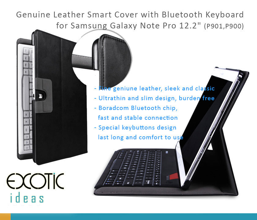 "B.O.W Fine Leather Smart Cover with Removable/Detachable Bluetooth 3.0 Keyboard for Samsung GALAXY NOTE PRO12.2"" (P900/P901)"