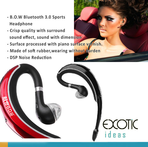 BOW Bluetooth 3.0 Sports Headset, Headphone.Independent CUP processes sound and voices. Superb Sound quality. Soft Rubber for comfort wearing.