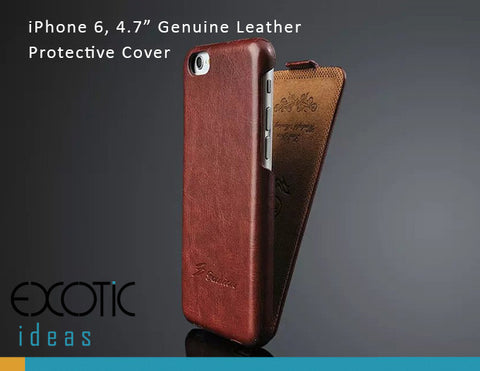 "iPhone 6 Plus / 6S Plus 5.5"" Protective Case - Genuine Leather with Flip Cover"