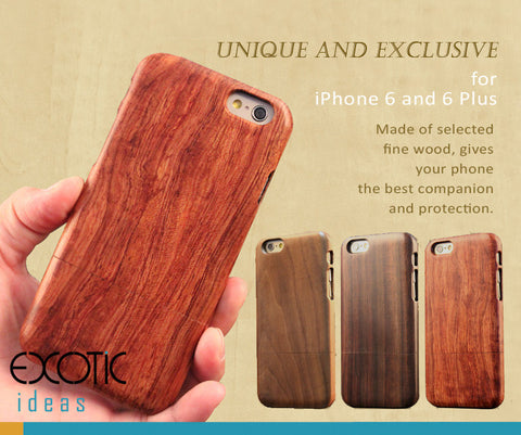 Handmade Wooden Cases/Skins for iPhone 8/8 Plus, 7/7 Plus, 6/6S, 6/6S Plus, Walnut, Rosewood, Sandalwood