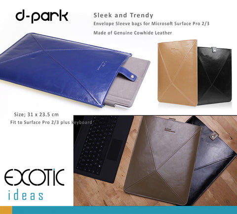 d-park Genuine Cowhide Leather Envelope Sleeve bags for Microsoft Surface Pro 3 and Pro 2
