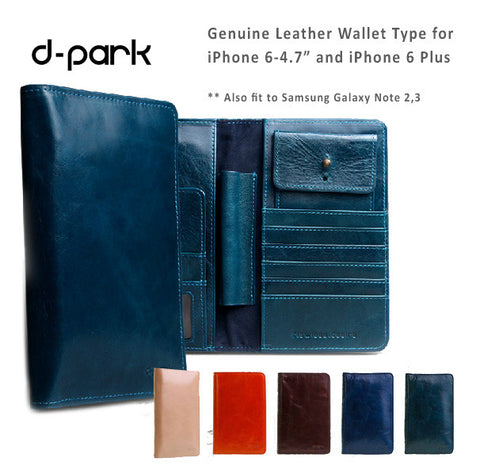 "d-park Genuine Leather Wallet Style cases for iPhone 6/6S, 6/6S Plus, Fits to screen 4""-5.5"" phones."
