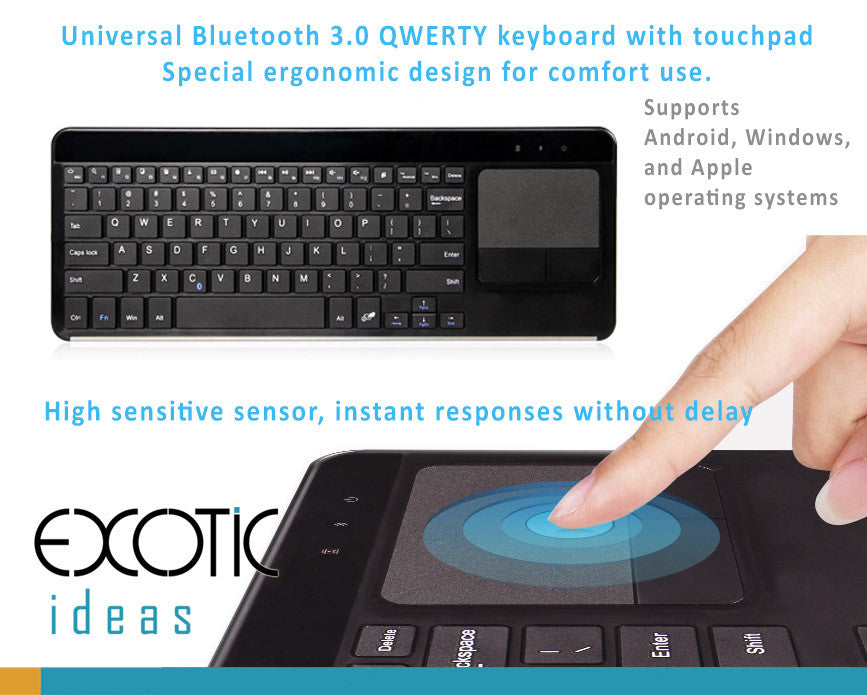 Bluetooth Keyboard with Touchpad. Ergonomic Design Supports Android, Windows and iOS systems
