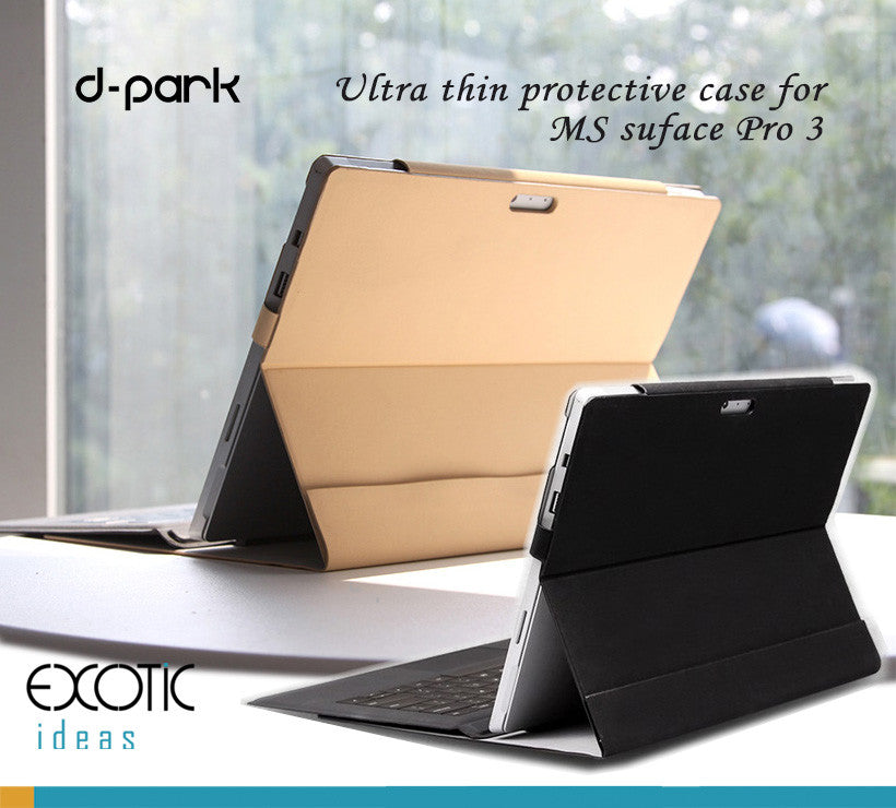 d-park protective cover for Surface Pro 3, with Velcro design to secure the tablet.