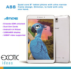 AMPE 8 Inch Quad Core Tablet Phone, Slimmer to hold with only one hand -  Android 4.4.4,  IPS 5 point touch screen, Dual Sim Card Slots, Unlocked GSM / WCDMA 3G WiFi, Bluetooth,GPS