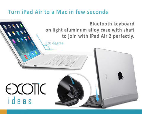"Bluetooth keyboard on light aluminum alloy case with shaft to join with iPad Air 2 and The new 9.7"" perfectly"