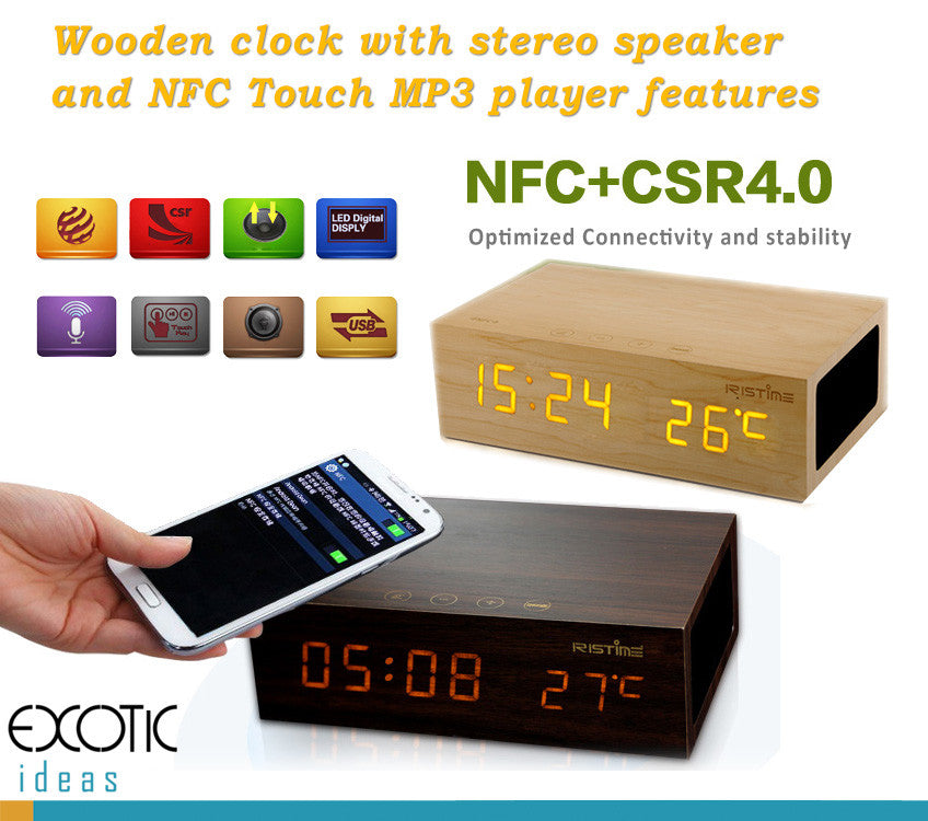 Wooden LED Clock Stereo Bluetooth Speaker with bass enhanced, NFC+CRS+Touch feature. Red Dot Awarded