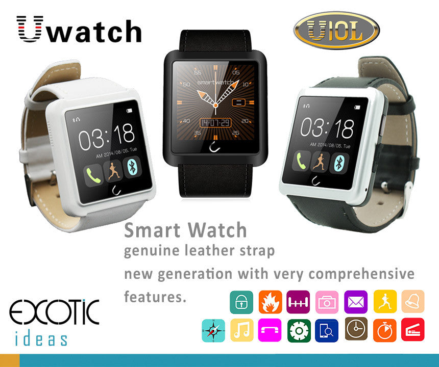 U10- Bluetooth Smart Watch OLED touch screen, With Genuine Leather Strap. Comprehensive features - Time, Pedometer, Hands-free calls, Mobile Sync, Music Player, Instant Messengers