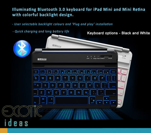 Illuminating Backlit Bluetooth keyboard for iPad Mini,2,3,4 with multi-colors backlight design