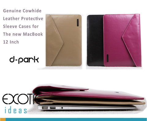 Genuine Leather Envelope Style Sleeve Bags Cases for The new MacBook 12 inch