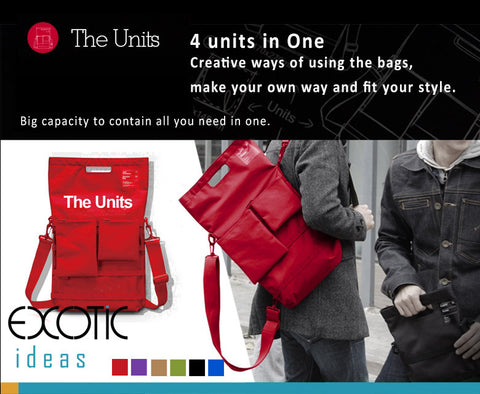 "d-Park-The Units-Laptop Backpack/Handbags-4 Units in One. Fits to 17"" or smaller laptops/tablets"