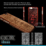iPhone 6/6S,6/6S plus wooden casess Christian Sacramental Symbols.Walnut,Rosewood, Sandalwood