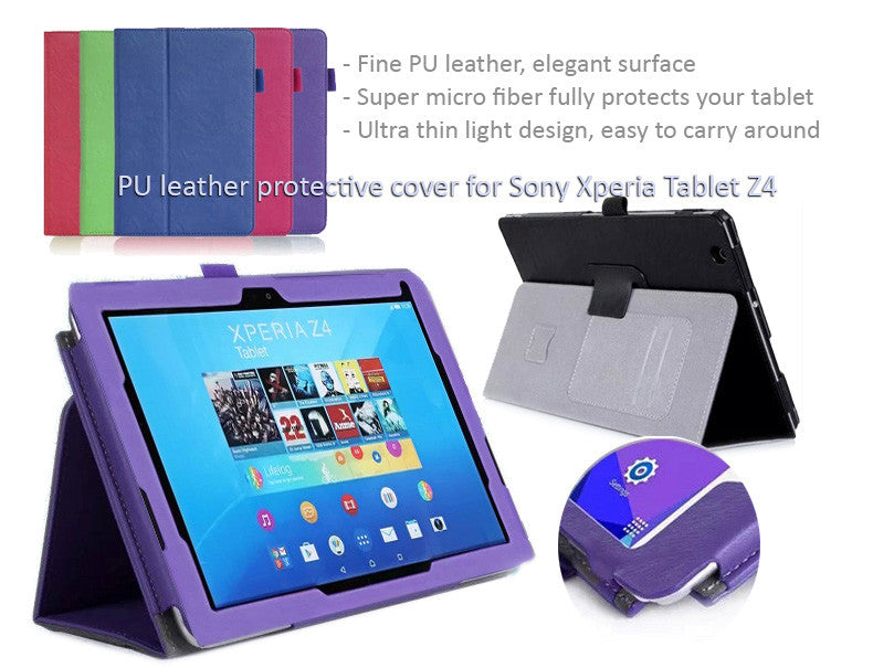 Ultra thin light PU leather protective cover for Sony Xperia Tablet Z4, Super micro fiber fully protects your tablet