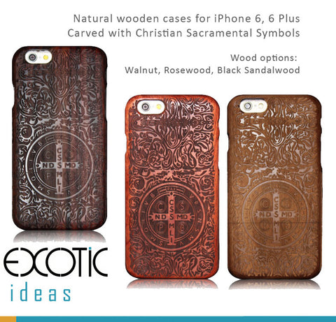 iPhone 8/7/6/6S and iPhone 8/7/6/6S Plus wooden casess Christian Sacramental Symbols.Walnut,Rosewood, Sandalwood