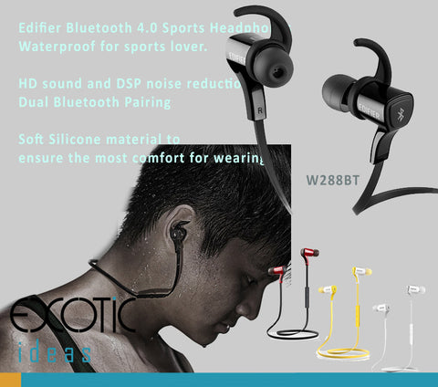 Edifier Dual Bluetooth Sports Headphones HD sound and DSP, NFC, APT-X, CVC enhanced features