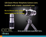 12X Zoom Phone Telephoto Camera Lens Telescope bundled with tripod + backshell case, fits to iPhone 8/8Plus, 7/7Plus, 6/6plus,5/5S,  Samsung Galaxy S9, S9 Edge, S6. S6 Edge