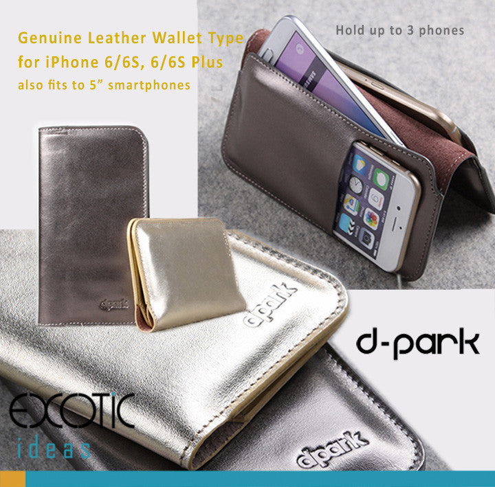 d-park Genuine Leather Wallet Type Cases for iPhone 6/6S, 6/6S Plus.Gold Shiny Technicolor Process