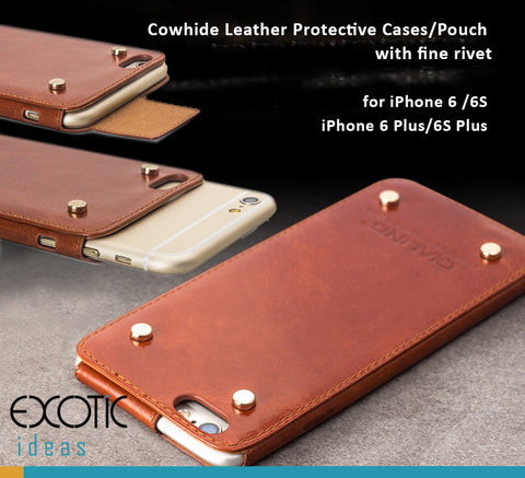 Genuine Leather Cases/Pouch with Rivet for iPhone 6/6, 6/6S Plus- Free Gift - Tempered Glass Film