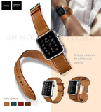 Genuine Leather Watch Bands/Straps for Apple Watch 5, 4, 3, 2, 1 Single Loop, Double Loop Strap and Bracelet. 3 bands in One Set,