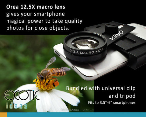 "Orea 12.5X Macro Lens. Taking close objects photos. Universal clip+tripod.Fits to 3.5""-6"" phones"