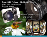 "12.5X Macro Lens+0.42 Super Fisheye Lens 180 Degree. Bundled Universal clip+tripod.Fits to 3.5""-6"" phones"