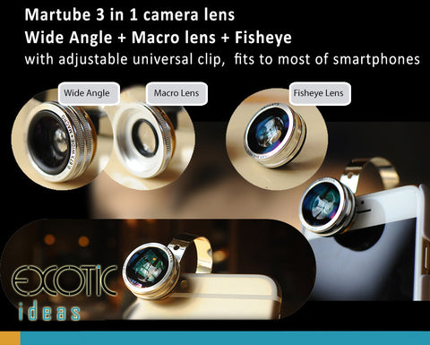 Martube 3 in 1 Phone Camera Lens. Wide Angle + Macro+Fisheye Universal Clip, Fits to 99% phones