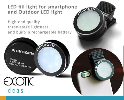Smartphones LED fill light, works as outdoor LED light. Three-stage lightness, rechargeable battery.